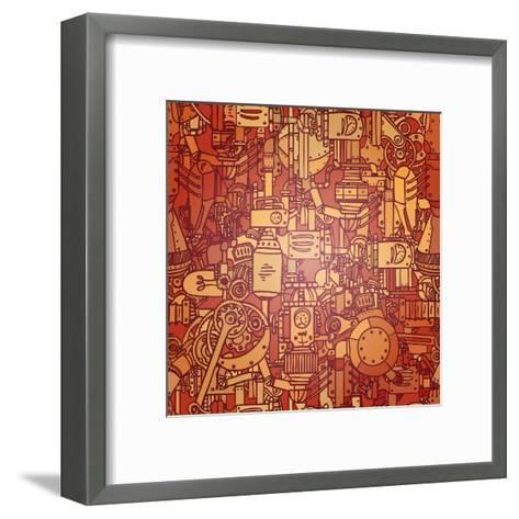 Steampunk Seamless Vector Pattern-Gorbash Varvara-Framed Art Print