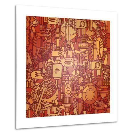 Steampunk Seamless Vector Pattern-Gorbash Varvara-Metal Print