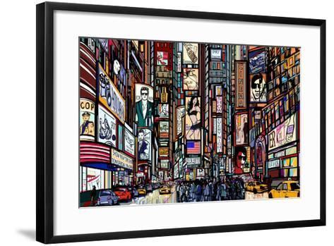 Illustration of a Street in New York City-isaxar-Framed Art Print