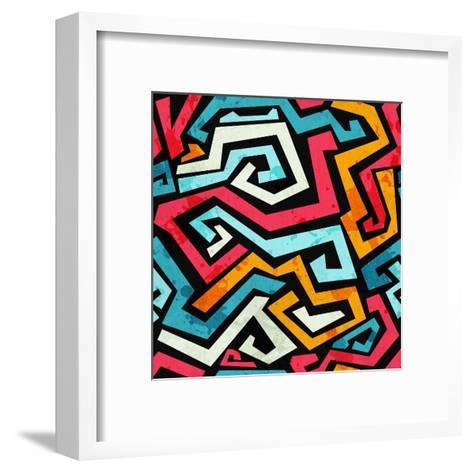 Bright Graffiti Seamless Pattern with Grunge Effect- gudinny-Framed Art Print