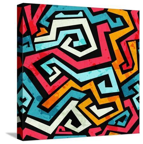 Bright Graffiti Seamless Pattern with Grunge Effect- gudinny-Stretched Canvas Print