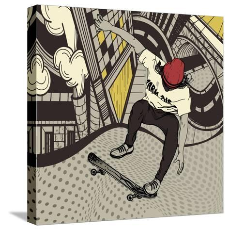 Vector Illustration of an Urban Boy Jumping on a Skateboard-Anna Paff-Stretched Canvas Print