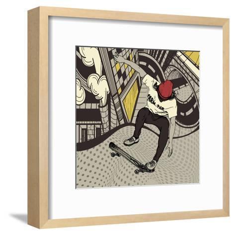 Vector Illustration of an Urban Boy Jumping on a Skateboard-Anna Paff-Framed Art Print