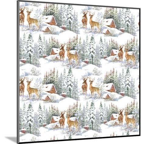 Winter Landscape with Deers-KostanPROFF-Mounted Art Print