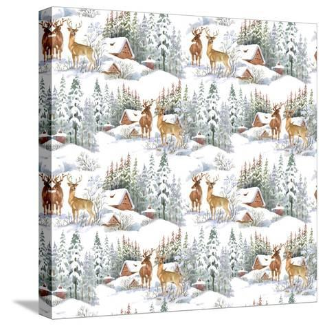 Winter Landscape with Deers-KostanPROFF-Stretched Canvas Print