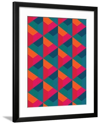 Vector Modern Seamless Colorful Geometry Pattern, Color Abstract Geometric Background, Pillow Multi- Sunspire-Framed Art Print