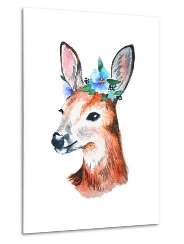 Watercolor Illustration. Cute Young Deer with Blue Flowers on Head.-Maria Sem-Metal Print