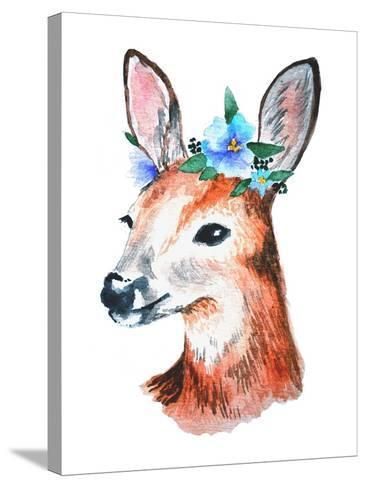 Watercolor Illustration. Cute Young Deer with Blue Flowers on Head.-Maria Sem-Stretched Canvas Print