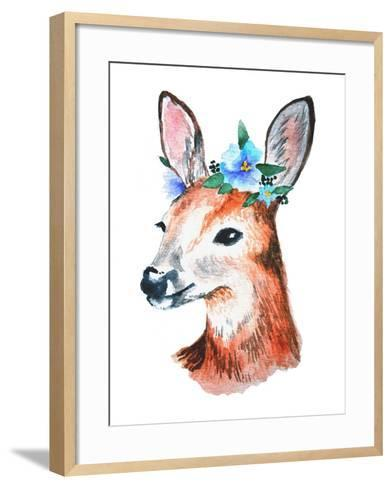 Watercolor Illustration. Cute Young Deer with Blue Flowers on Head.-Maria Sem-Framed Art Print