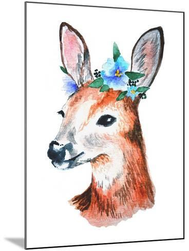 Watercolor Illustration. Cute Young Deer with Blue Flowers on Head.-Maria Sem-Mounted Art Print