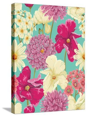 Floral Seamless Pattern with Flowers in Watercolor Style-hoverfly-Stretched Canvas Print
