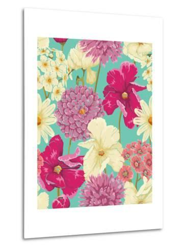 Floral Seamless Pattern with Flowers in Watercolor Style-hoverfly-Metal Print