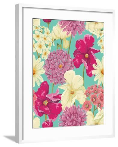 Floral Seamless Pattern with Flowers in Watercolor Style-hoverfly-Framed Art Print