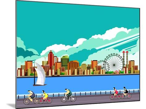 Vector Illustration Promenade Ride a Bike People on the Water Sailing a Sailboat in the Distance a-marrishuanna-Mounted Art Print
