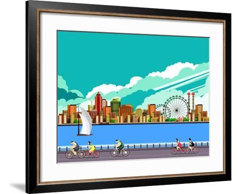 Vector Illustration Promenade Ride a Bike People on the Water Sailing a Sailboat in the Distance a-marrishuanna-Framed Art Print