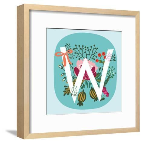Vector Hand Drawn Floral Monogram with Vintage Amazing Flowers! Letters W Perfect for Backgrounds O-MarushaBelle-Framed Art Print