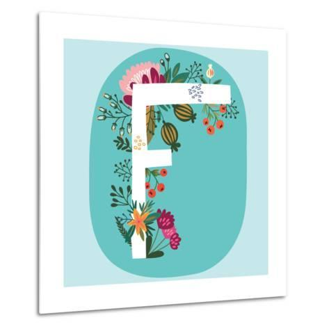 Vector Hand Drawn Floral Monogram with Vintage Amazing Flowers! Letters F Perfect for Backgrounds O-MarushaBelle-Metal Print