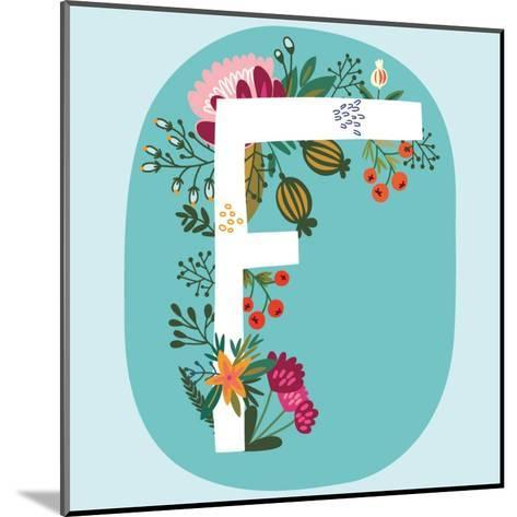 Vector Hand Drawn Floral Monogram with Vintage Amazing Flowers! Letters F Perfect for Backgrounds O-MarushaBelle-Mounted Art Print