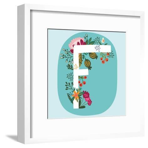 Vector Hand Drawn Floral Monogram with Vintage Amazing Flowers! Letters F Perfect for Backgrounds O-MarushaBelle-Framed Art Print