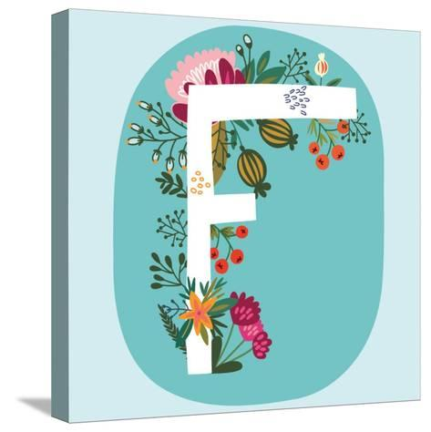 Vector Hand Drawn Floral Monogram with Vintage Amazing Flowers! Letters F Perfect for Backgrounds O-MarushaBelle-Stretched Canvas Print