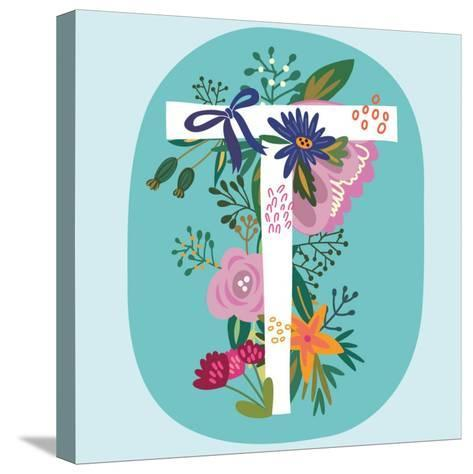 Vector Hand Drawn Floral Monogram with Vintage Amazing Flowers! Letters T Perfect for Backgrounds O-MarushaBelle-Stretched Canvas Print