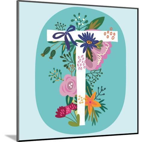 Vector Hand Drawn Floral Monogram with Vintage Amazing Flowers! Letters T Perfect for Backgrounds O-MarushaBelle-Mounted Art Print