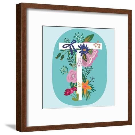 Vector Hand Drawn Floral Monogram with Vintage Amazing Flowers! Letters T Perfect for Backgrounds O-MarushaBelle-Framed Art Print