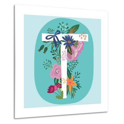 Vector Hand Drawn Floral Monogram with Vintage Amazing Flowers! Letters T Perfect for Backgrounds O-MarushaBelle-Metal Print