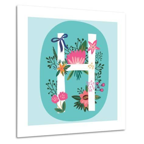 Vector Hand Drawn Floral Monogram with Vintage Amazing Flowers! Letters H Perfect for Backgrounds O-MarushaBelle-Metal Print