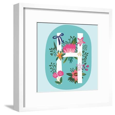 Vector Hand Drawn Floral Monogram with Vintage Amazing Flowers! Letters H Perfect for Backgrounds O-MarushaBelle-Framed Art Print