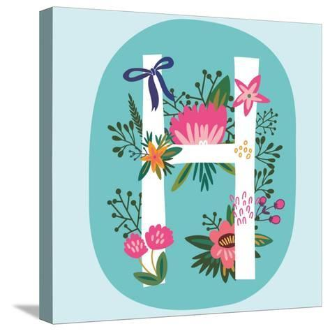 Vector Hand Drawn Floral Monogram with Vintage Amazing Flowers! Letters H Perfect for Backgrounds O-MarushaBelle-Stretched Canvas Print