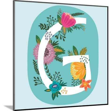 Vector Hand Drawn Floral Monogram with Vintage Amazing Flowers! Letters G Perfect for Backgrounds O-MarushaBelle-Mounted Art Print