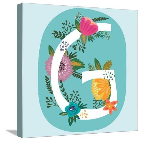 Vector Hand Drawn Floral Monogram with Vintage Amazing Flowers! Letters G Perfect for Backgrounds O-MarushaBelle-Stretched Canvas Print