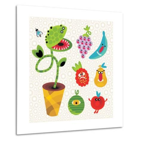 Set of Cute Plant Monsters. Vector Illustration for Your Background.-Eka Panova-Metal Print