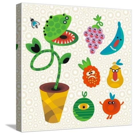 Set of Cute Plant Monsters. Vector Illustration for Your Background.-Eka Panova-Stretched Canvas Print