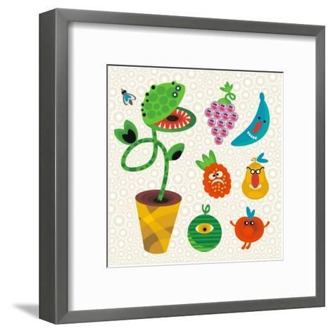 Set of Cute Plant Monsters. Vector Illustration for Your Background.-Eka Panova-Framed Art Print