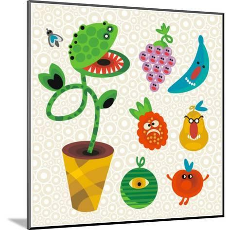 Set of Cute Plant Monsters. Vector Illustration for Your Background.-Eka Panova-Mounted Art Print