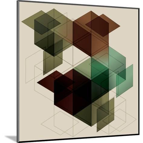 Geometric Cube Background. Eps10 with Transparency- Transfuchsian-Mounted Art Print