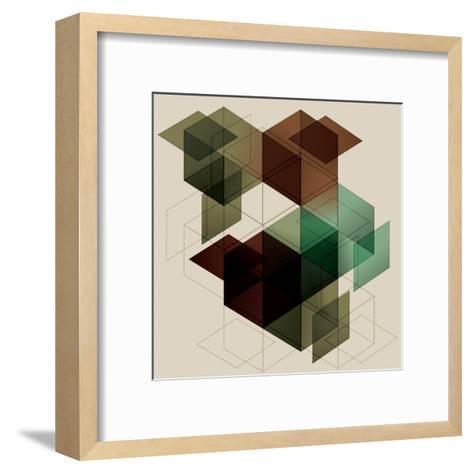 Geometric Cube Background. Eps10 with Transparency- Transfuchsian-Framed Art Print