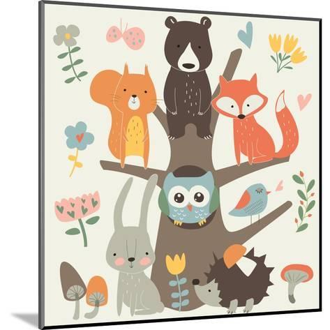 Set of Forest Animals in Cartoon Style. Cute Hedgehog, Birds, Bear, Fox, Hare, Mushrooms, Elk, Snai-Kaliaha Volha-Mounted Art Print