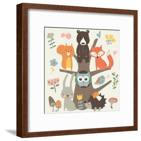 Set of Forest Animals in Cartoon Style. Cute Hedgehog, Birds, Bear, Fox, Hare, Mushrooms, Elk, Snai-Kaliaha Volha-Framed Art Print