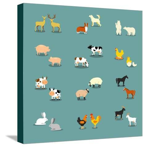 Farm Animals and Pets-K N-Stretched Canvas Print
