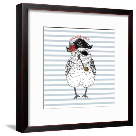 Pirates Only - Nautical Owl Illustration-Olga_Angelloz-Framed Art Print