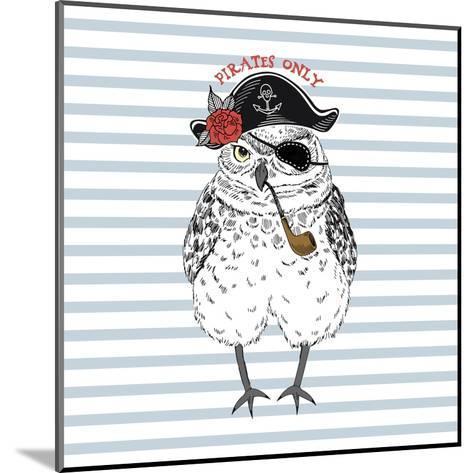 Pirates Only - Nautical Owl Illustration-Olga_Angelloz-Mounted Art Print