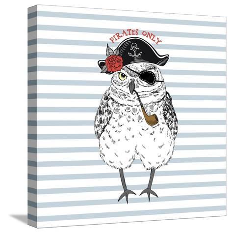 Pirates Only - Nautical Owl Illustration-Olga_Angelloz-Stretched Canvas Print