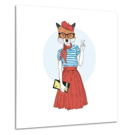 Fox Girl Dressed up in French Style-Olga_Angelloz-Metal Print