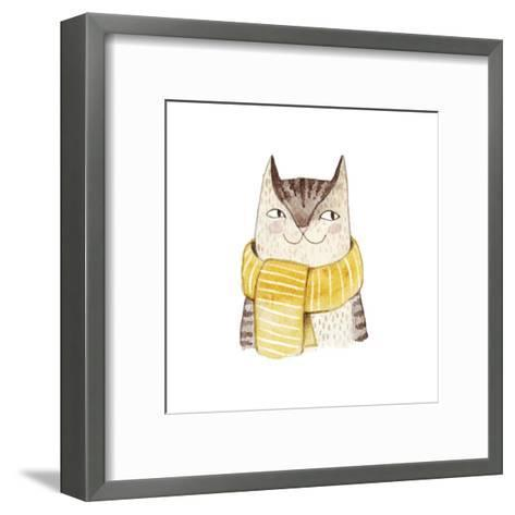 Cute Cat in Scarf . Watercolor Illustration with Domestic Animal. Lovely Pet. Hand Drawn Illustrati-Maria Sem-Framed Art Print