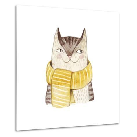 Cute Cat in Scarf . Watercolor Illustration with Domestic Animal. Lovely Pet. Hand Drawn Illustrati-Maria Sem-Metal Print
