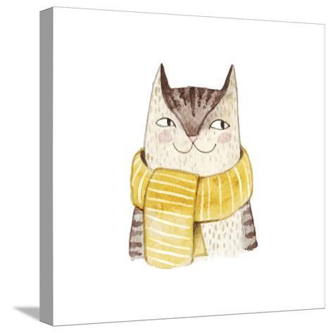Cute Cat in Scarf . Watercolor Illustration with Domestic Animal. Lovely Pet. Hand Drawn Illustrati-Maria Sem-Stretched Canvas Print