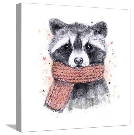Cute Raccoon with Scarf , Sketchy Style. Autumn Cozy Illustrations with Warm Colors. Perfectly for-Maria Sem-Stretched Canvas Print